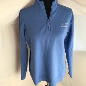 Vineyard Vines blue/white whale 1/4-zip pullover M